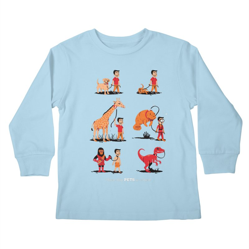 Leash Your Pet Kids Longsleeve T-Shirt by Ben Douglass