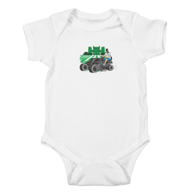 The Bat-mow-bile Kids Baby Bodysuit by Ben Douglass