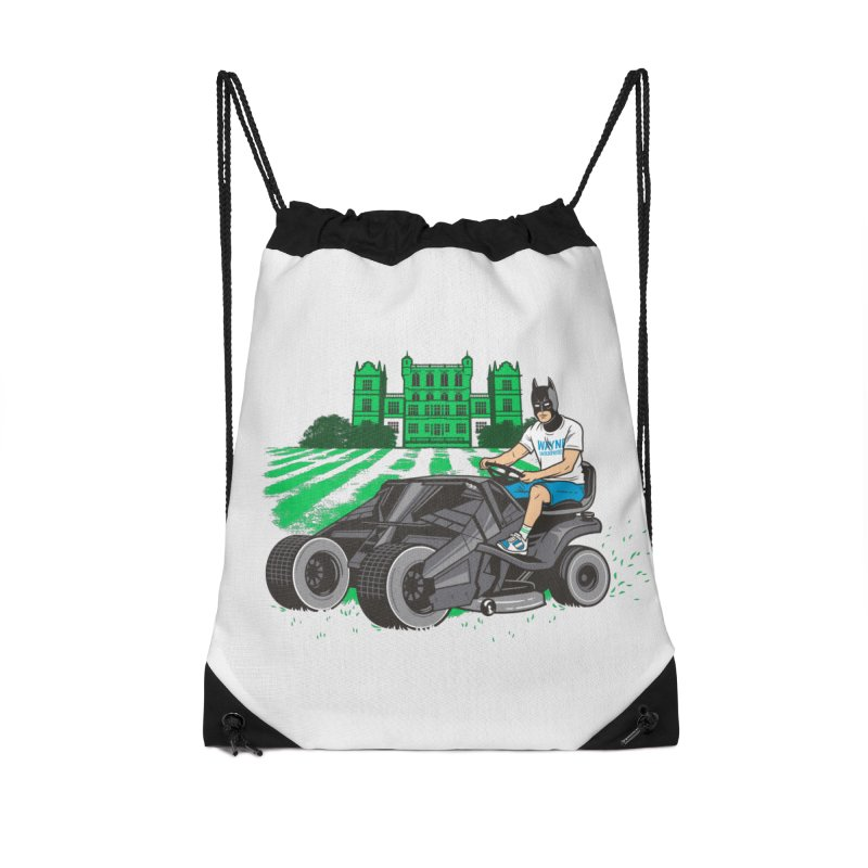 The Bat-mow-bile Accessories Drawstring Bag Bag by Ben Douglass