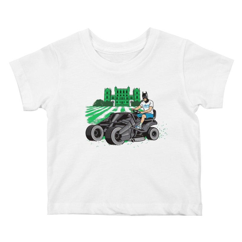 The Bat-mow-bile Kids Baby T-Shirt by Ben Douglass