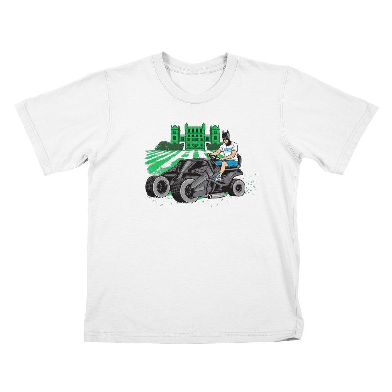 The Bat-mow-bile Kids T-Shirt by Ben Douglass