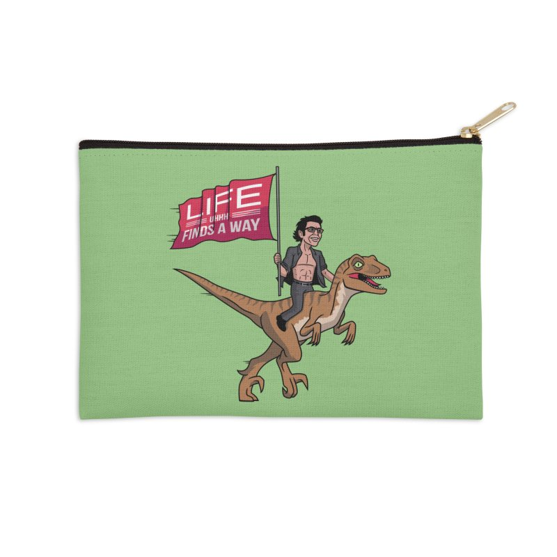 Life (UHHH) Finds a Way Accessories Zip Pouch by Ben Douglass