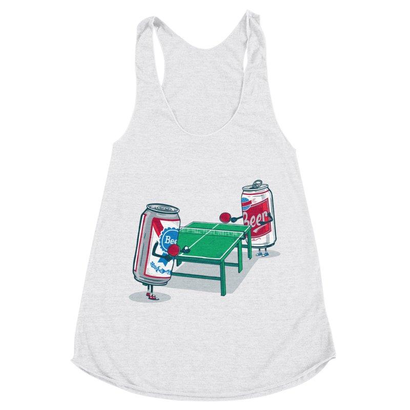 Beer Pong Women's Racerback Triblend Tank by Ben Douglass