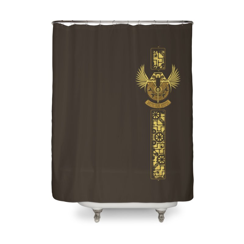 Retro Future Badge Home Shower Curtain by Ben's Shirt Shop of AwesomeShop