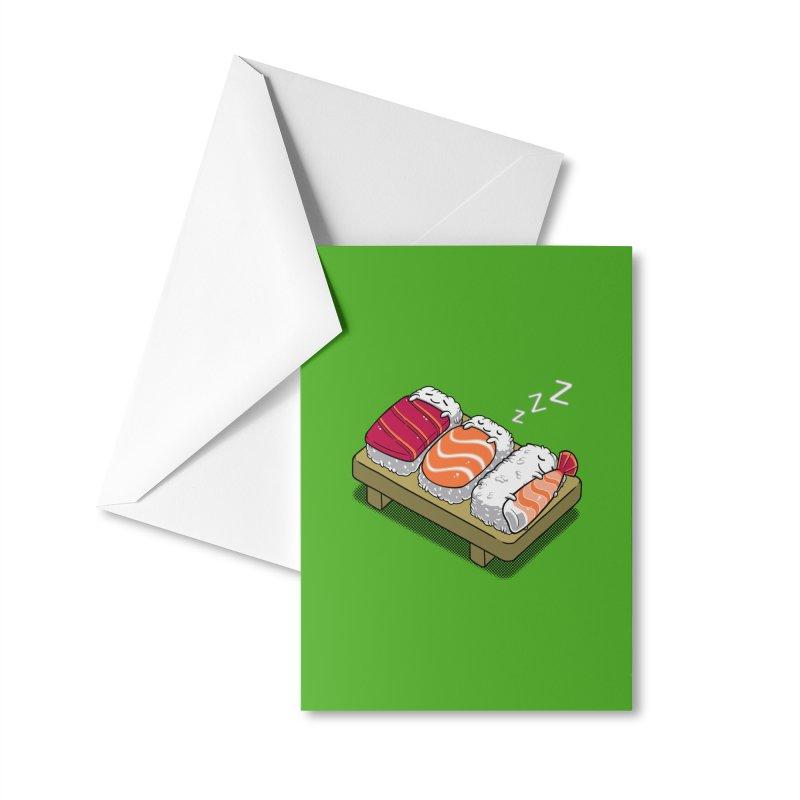 Sleepy Sushi Accessories Greeting Card by Benjimoji