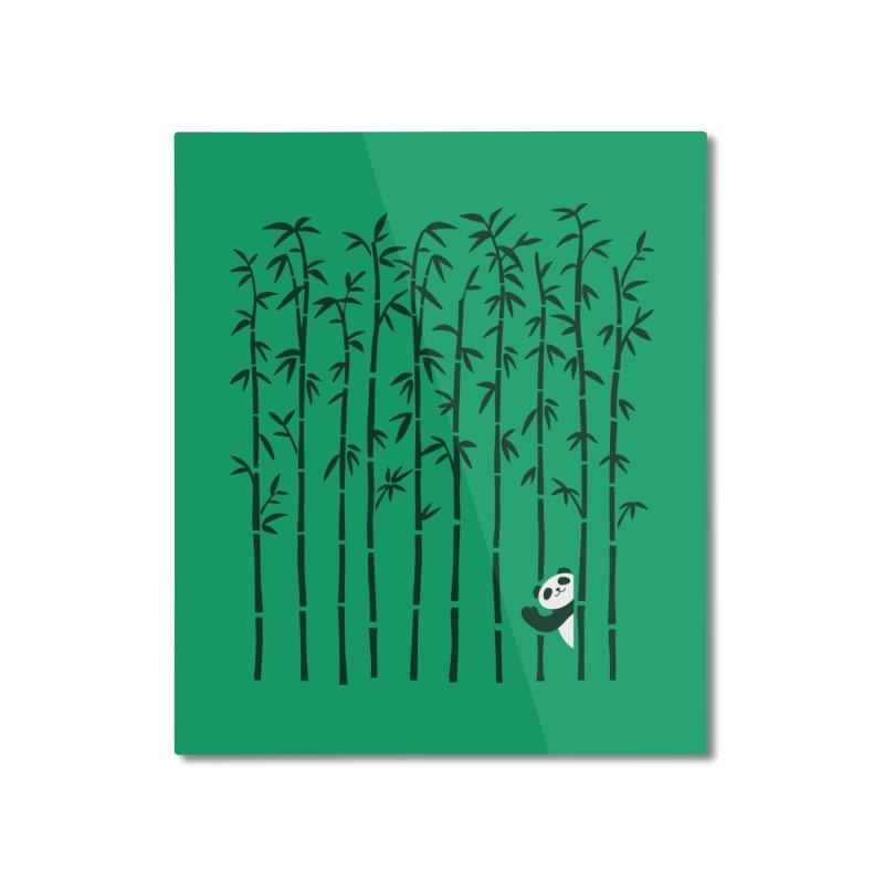 Hey Panda Home Mounted Aluminum Print by Benjimoji