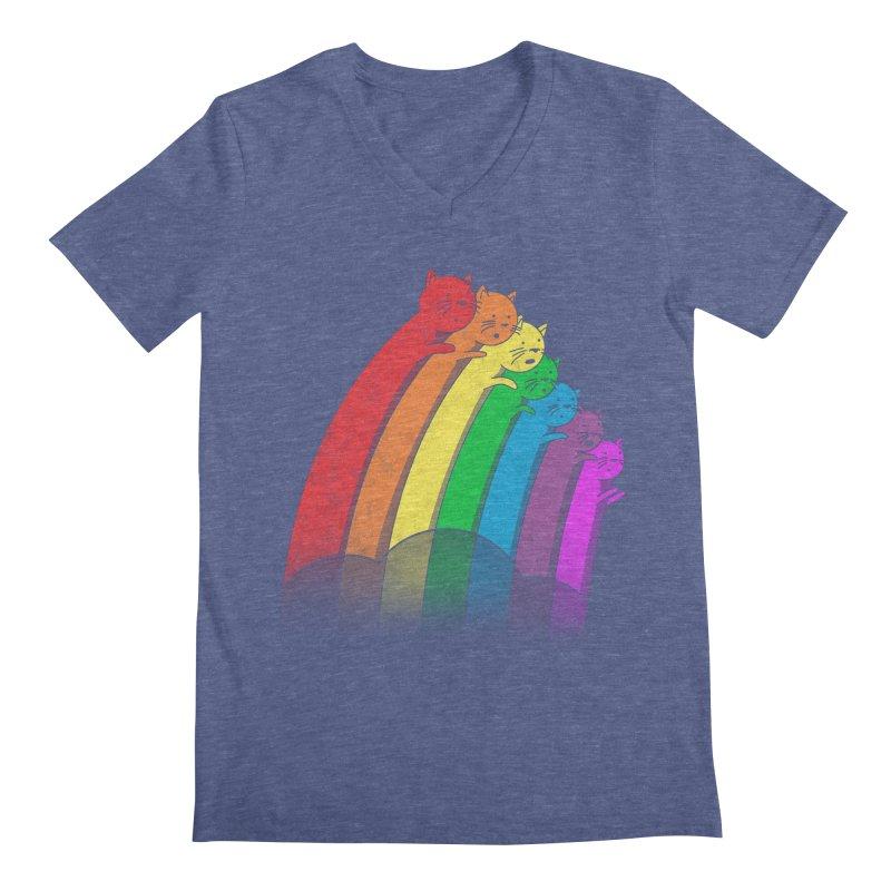 Rainbow Cats Men's Regular V-Neck by benk's shop