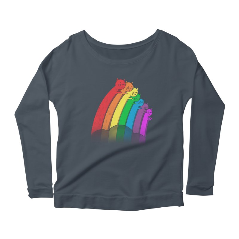 Rainbow Cats Women's Scoop Neck Longsleeve T-Shirt by benk's shop