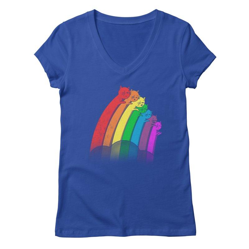 Rainbow Cats Women's V-Neck by benk's shop