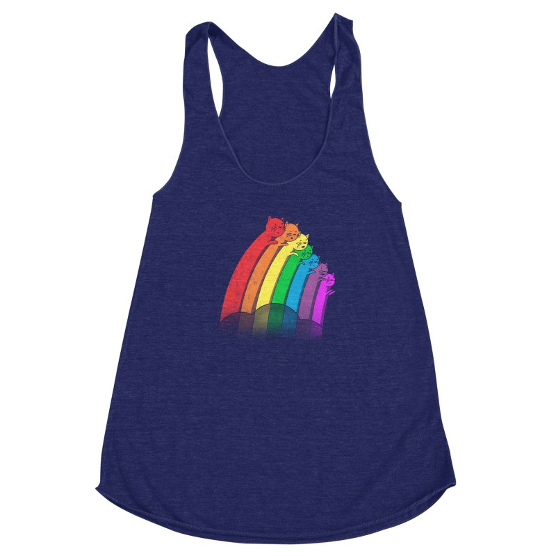 Rainbow Cats Women's Racerback Triblend Tank by benk's shop