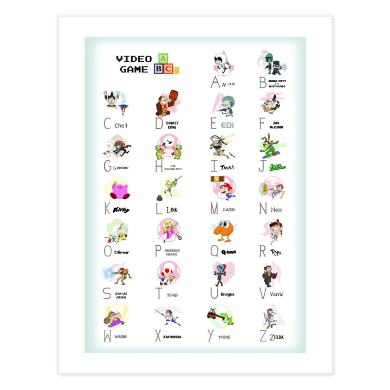 Video Game ABCs Home Fine Art Print by Sketchbookery!