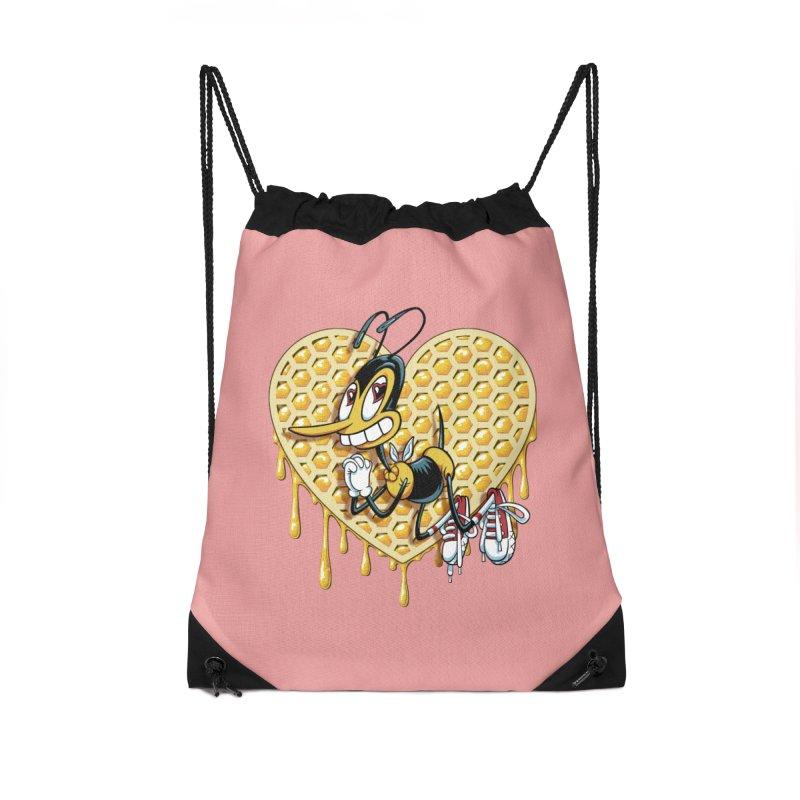 Honeycomb Heart Accessories Drawstring Bag Bag by bennygraphix's Artist Shop