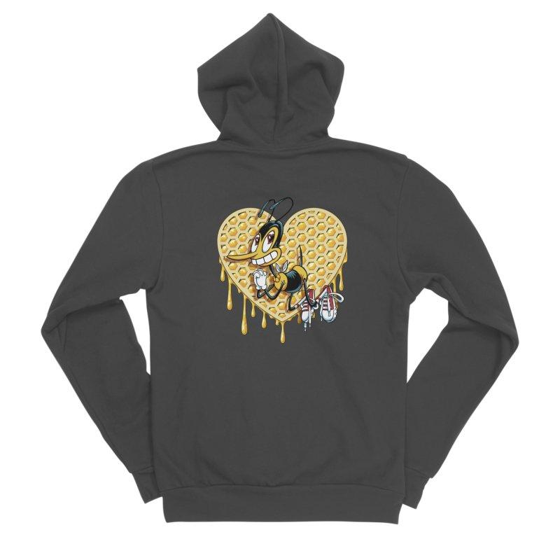 Honeycomb Heart Women's Sponge Fleece Zip-Up Hoody by bennygraphix's Artist Shop
