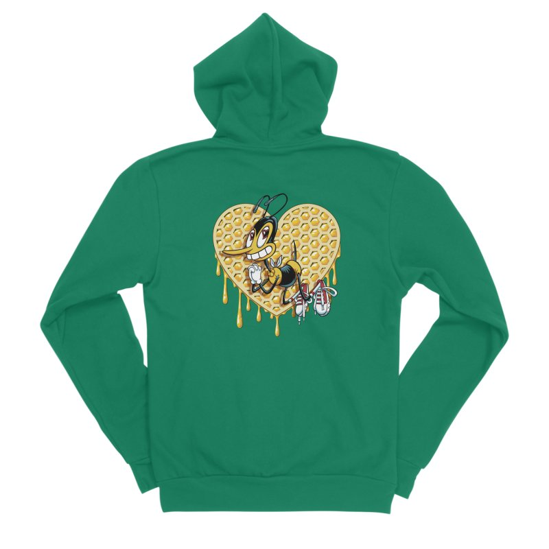 Honeycomb Heart Men's Sponge Fleece Zip-Up Hoody by bennygraphix's Artist Shop