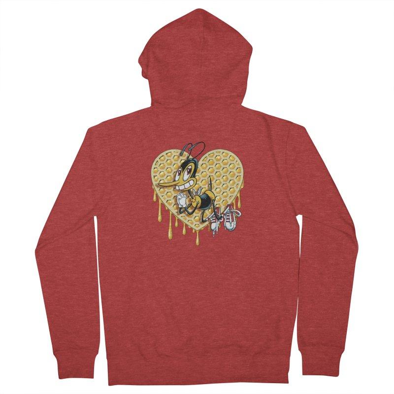 Honeycomb Heart Men's French Terry Zip-Up Hoody by bennygraphix's Artist Shop