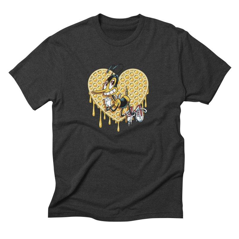 Honeycomb Heart Men's Triblend T-Shirt by bennygraphix's Artist Shop