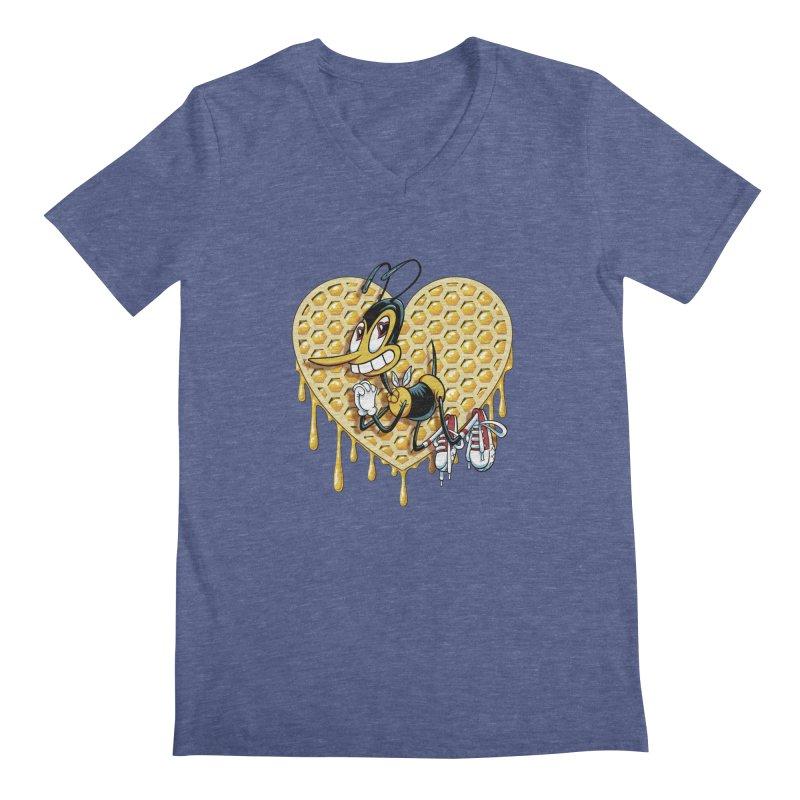 Honeycomb Heart Men's V-Neck by bennygraphix's Artist Shop