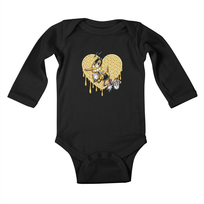 Honeycomb Heart Kids Baby Longsleeve Bodysuit by bennygraphix's Artist Shop