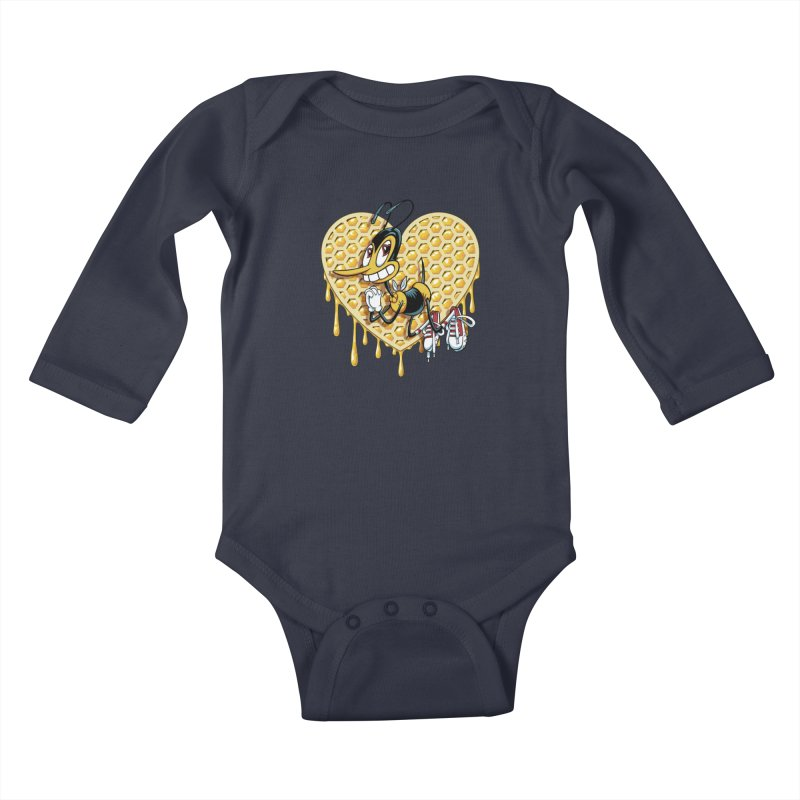 Honeycomb Heart Kids Baby Longsleeve Bodysuit by bennygraphix's Artist Shop