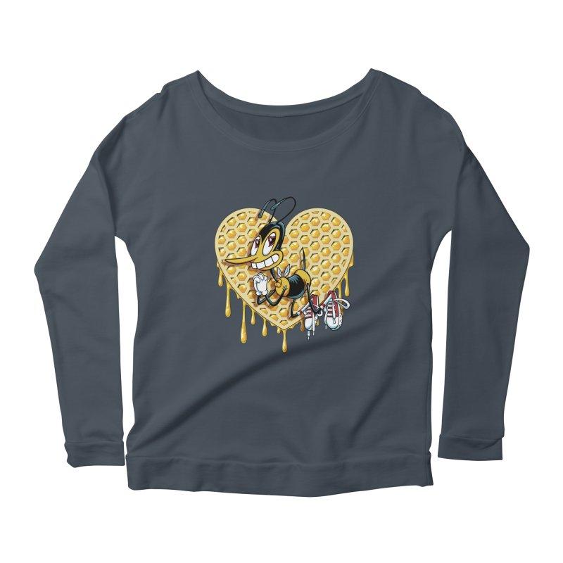 Honeycomb Heart Women's Scoop Neck Longsleeve T-Shirt by bennygraphix's Artist Shop