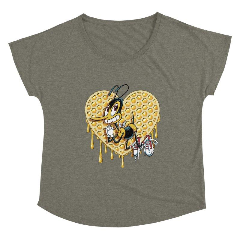 Honeycomb Heart Women's Dolman Scoop Neck by bennygraphix's Artist Shop