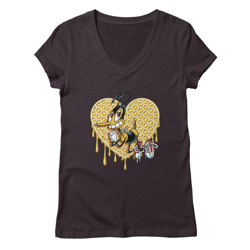 Honeycomb Heart Women's Regular V-Neck by bennygraphix's Artist Shop