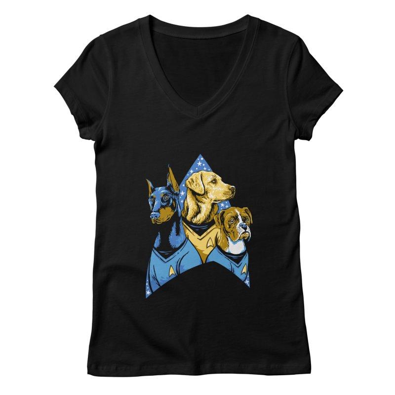 Bark Trek Women's V-Neck by bennygraphix's Artist Shop