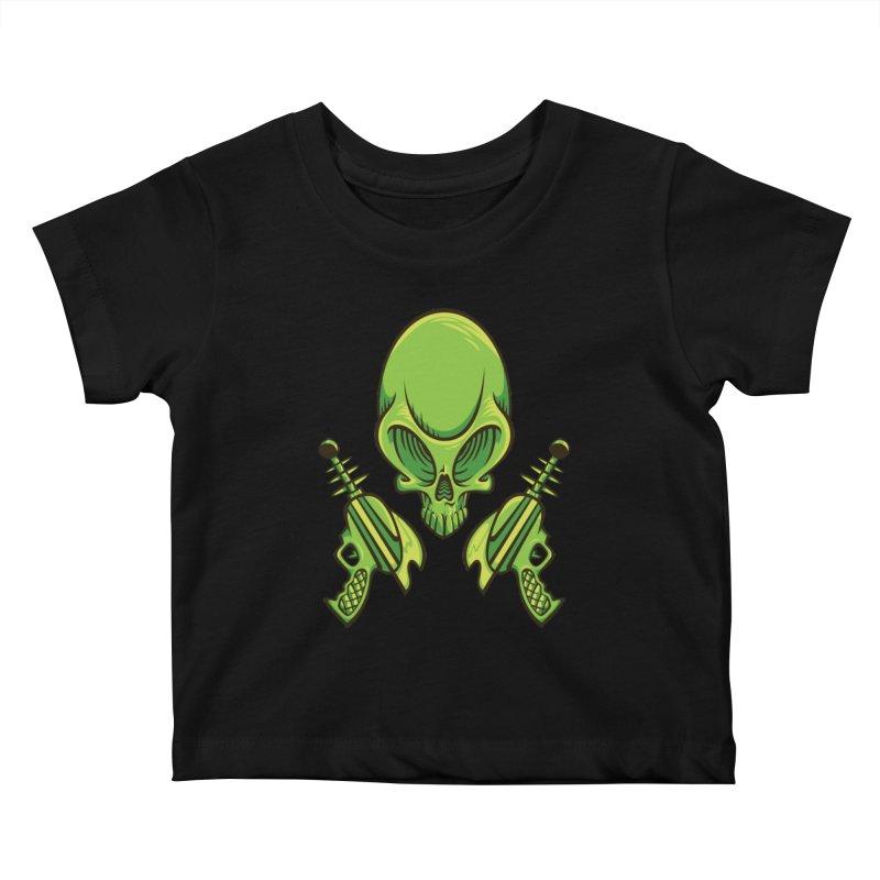 Alien Skull Kids Baby T-Shirt by bennygraphix's Artist Shop