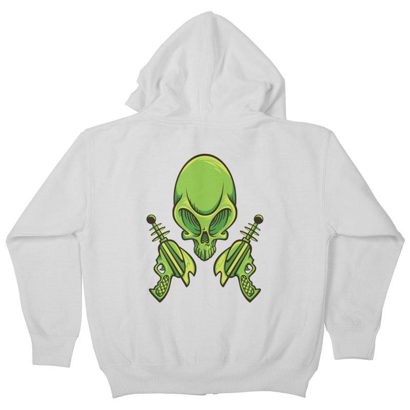 Alien Skull Kids Zip-Up Hoody by bennygraphix's Artist Shop