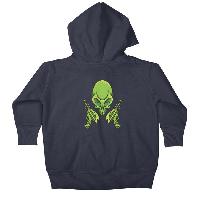 Alien Skull Kids Baby Zip-Up Hoody by bennygraphix's Artist Shop