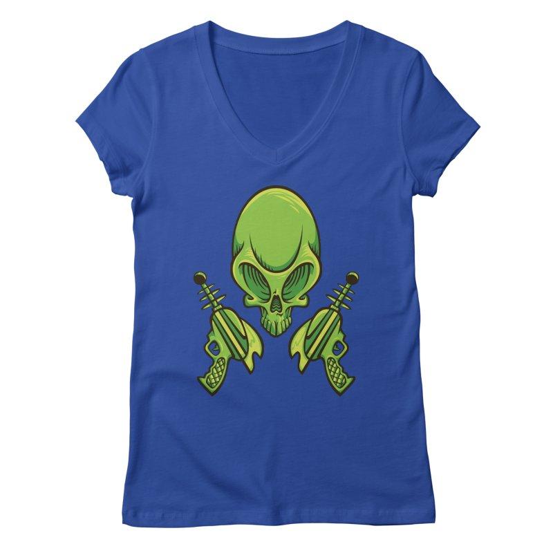 Alien Skull Women's V-Neck by bennygraphix's Artist Shop