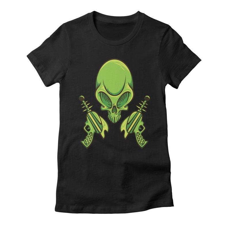 Alien Skull Women's Fitted T-Shirt by bennygraphix's Artist Shop
