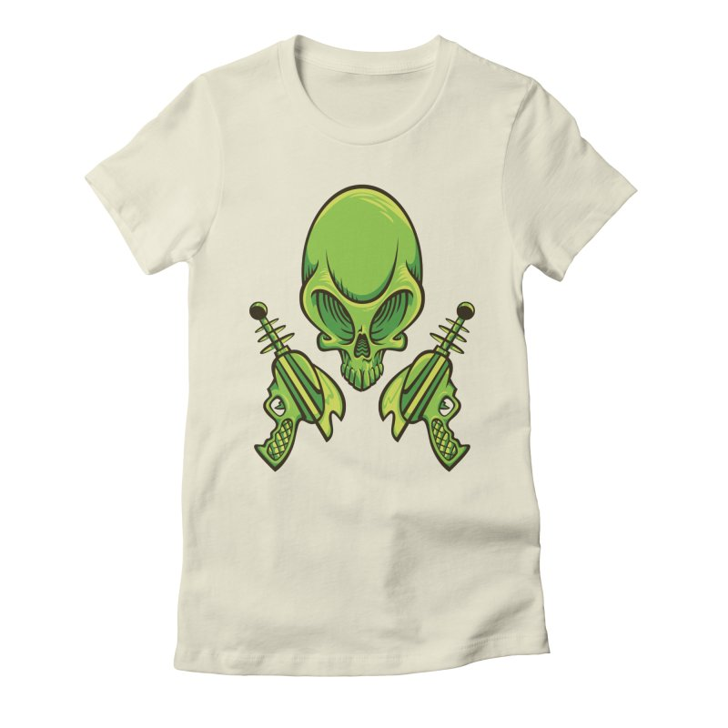 Alien Skull Women's Fitted T-Shirt by bennygraphix's Artist Shop