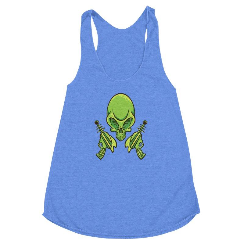 Alien Skull Women's Racerback Triblend Tank by bennygraphix's Artist Shop