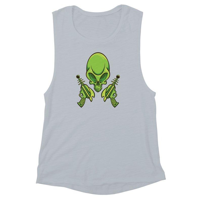 Alien Skull Women's Muscle Tank by bennygraphix's Artist Shop