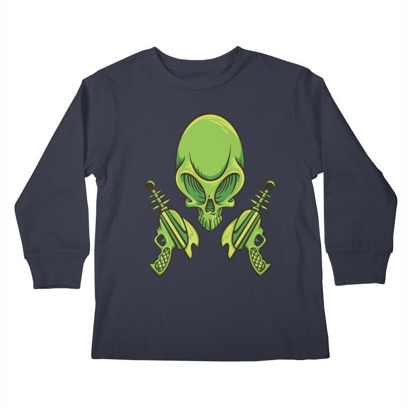 Alien Skull Kids Longsleeve T-Shirt by bennygraphix's Artist Shop