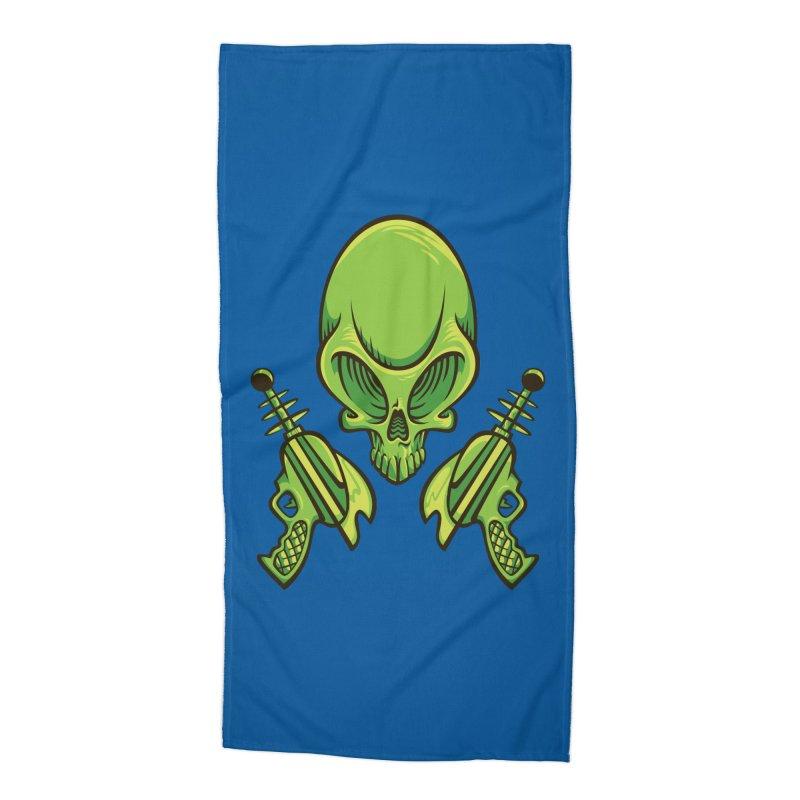 Alien Skull Accessories Beach Towel by bennygraphix's Artist Shop