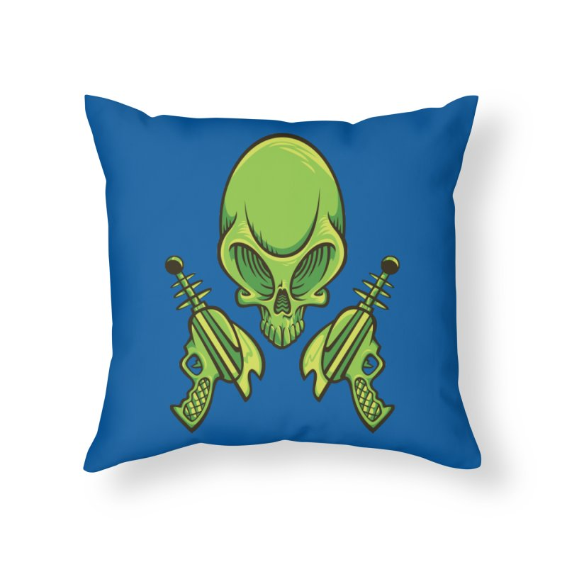 Alien Skull Home Throw Pillow by bennygraphix's Artist Shop