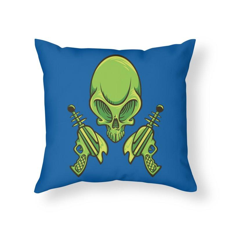 Alien Skull Home Throw Pillow by bennygraphix's Artist Shop