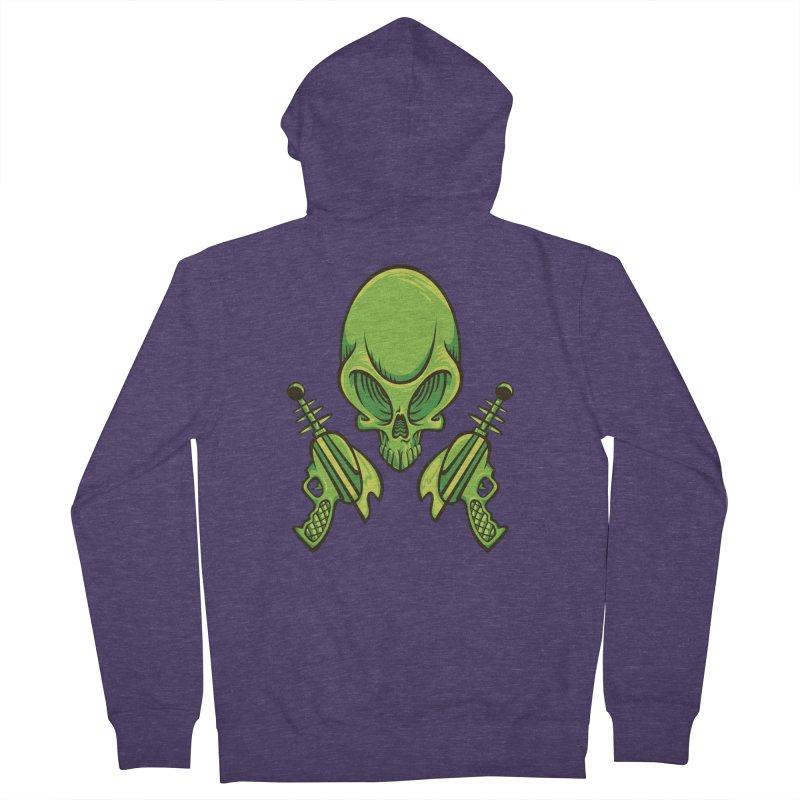 Alien Skull Men's French Terry Zip-Up Hoody by bennygraphix's Artist Shop