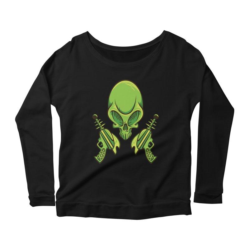 Alien Skull Women's Scoop Neck Longsleeve T-Shirt by bennygraphix's Artist Shop
