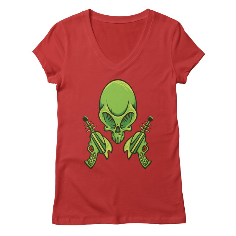 Alien Skull Women's Regular V-Neck by bennygraphix's Artist Shop