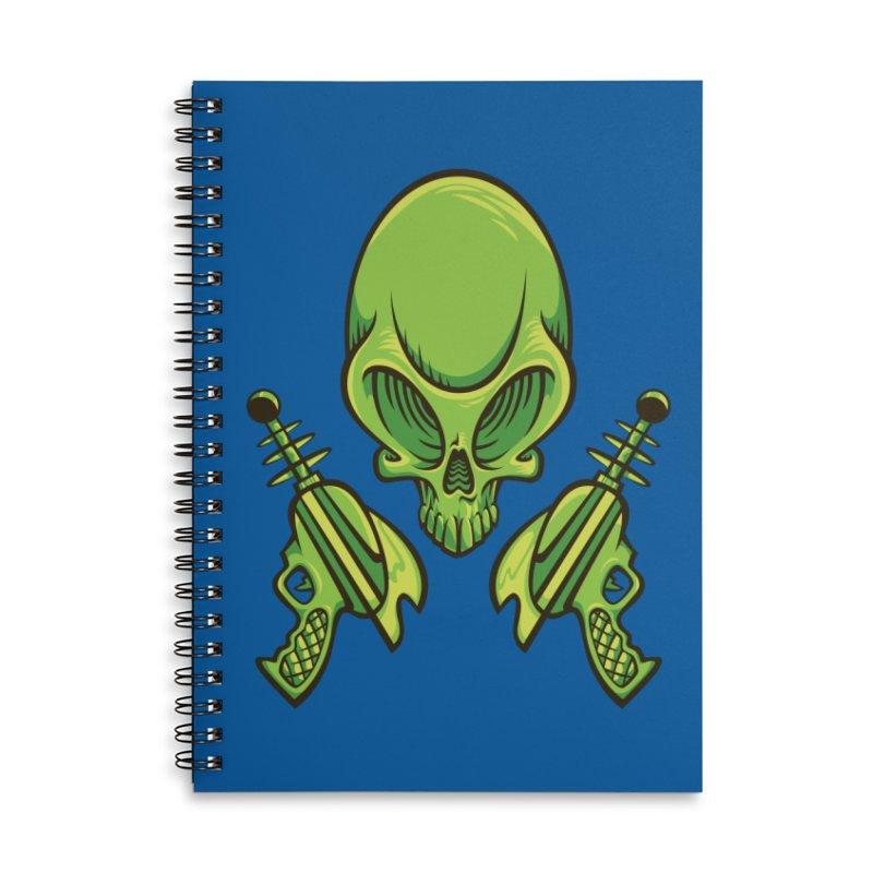 Alien Skull Accessories Lined Spiral Notebook by bennygraphix's Artist Shop