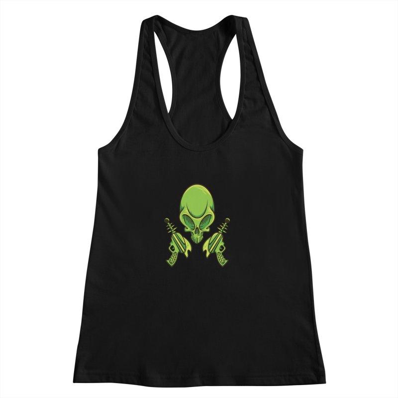 Alien Skull Women's Racerback Tank by bennygraphix's Artist Shop