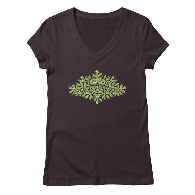 Greenman Women's V-Neck by bennygraphix's Artist Shop