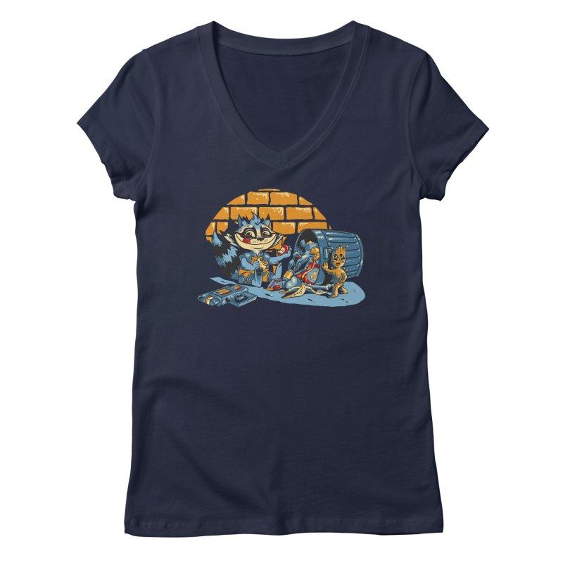 Dumpster Divers Women's Regular V-Neck by bennygraphix's Artist Shop
