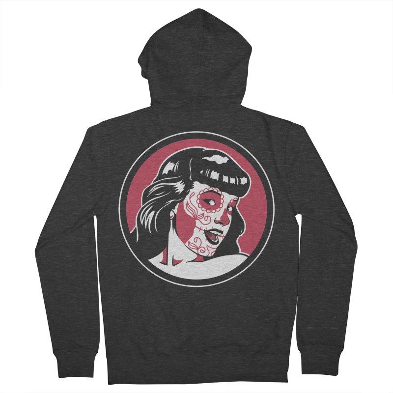 Bettie Sugar Skull Red Men's Zip-Up Hoody by bennygraphix's Artist Shop