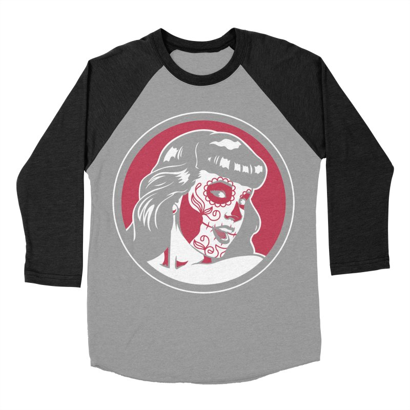 Bettie Sugar Skull Red Women's Baseball Triblend T-Shirt by bennygraphix's Artist Shop