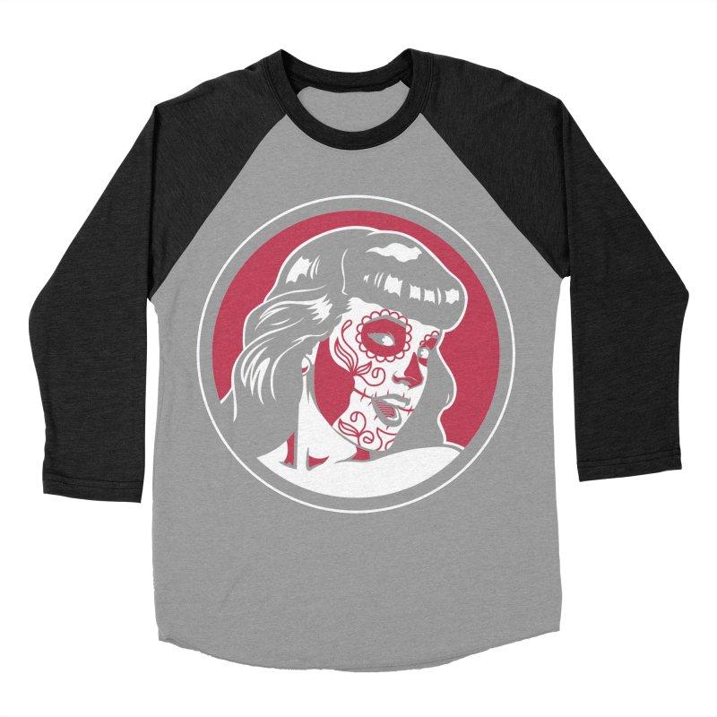 Bettie Sugar Skull Red Men's Baseball Triblend Longsleeve T-Shirt by bennygraphix's Artist Shop