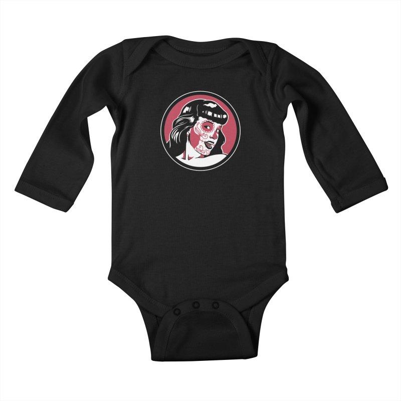 Bettie Sugar Skull Red Kids Baby Longsleeve Bodysuit by bennygraphix's Artist Shop